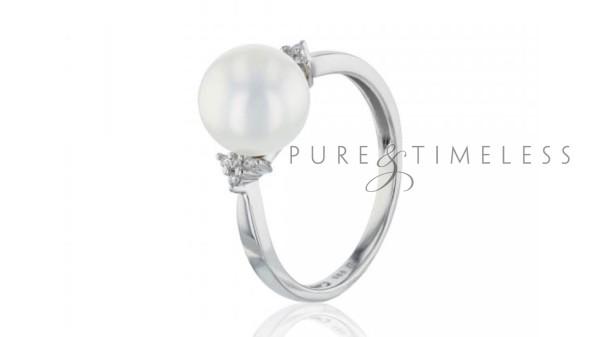 Witgouden ring met 9-9,5 mm zoetwaterparel en diamanten