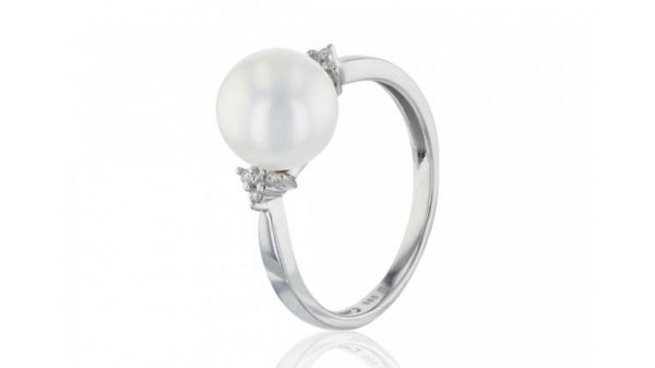 Witgouden ring met 9-9,5 mm zoetwaterparel en diamanten