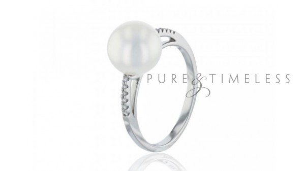 Witgouden parel ring met 9-9,5 mm zoetwaterparel en diamant