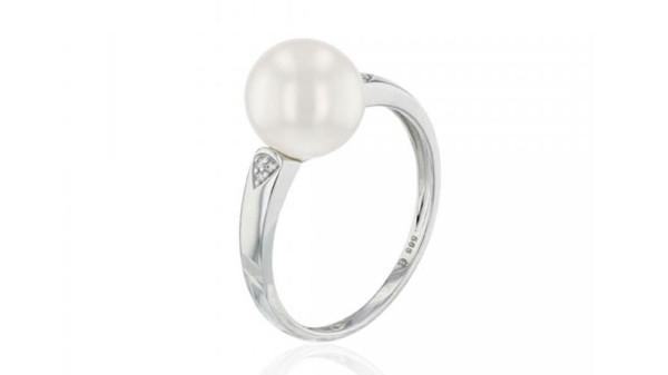 Witgouden ring met 9-9,5 mm zoetwaterparel en diamantjes