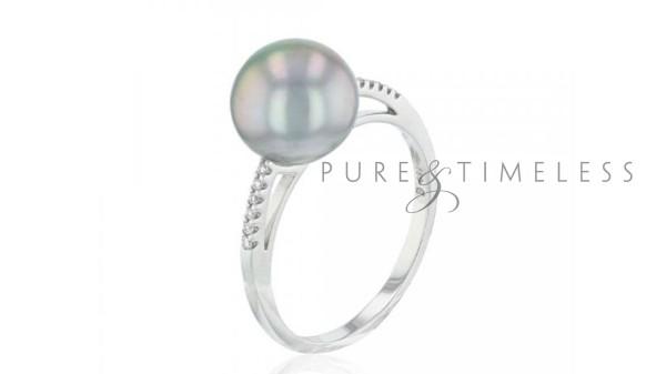 Parel ring met 9-10 mm Tahiti parel en diamant