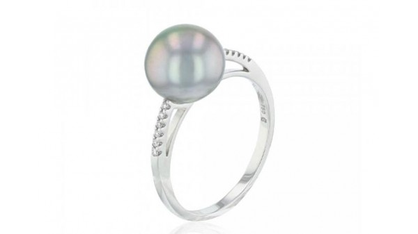 Parel ring met 9-10 mm Tahiti parel en diamant