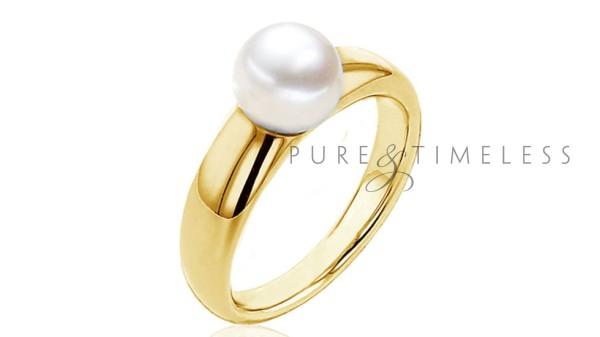 Gouden 8-8,5 mm zoetwaterparel ring