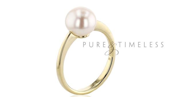 Gouden ring met 8.5-9 mm bouton parel