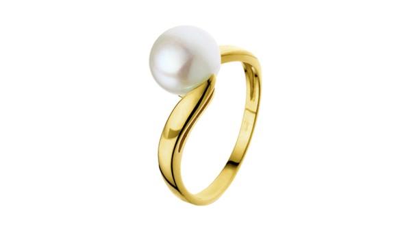 Geelgouden ring met 8,5 mm zoetwaterparel