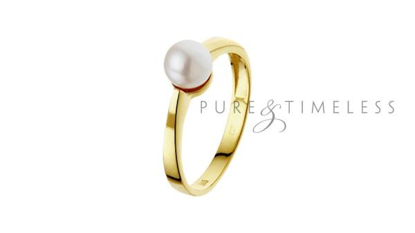 Geelgouden ring met zoetwaterparel
