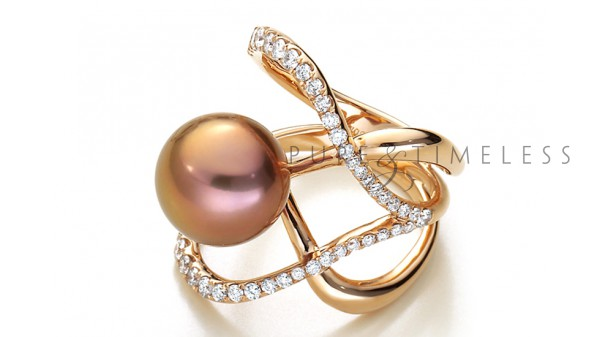 Parel ring 18 krt. roségoud en diamant