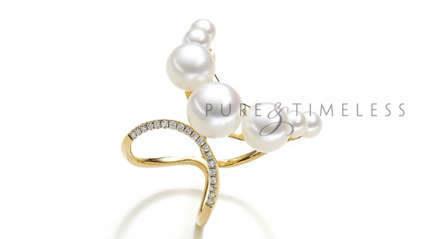 Parel ring met 0,10 ct diamanten
