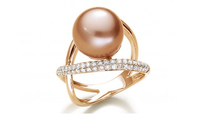 Parel ring met diamant - 18 krt roségoud
