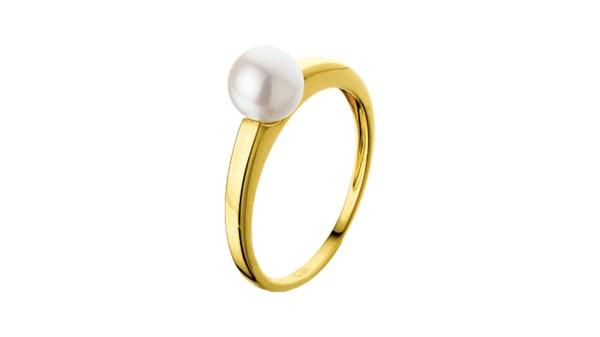 Ring geelgoud met zoetwaterparel