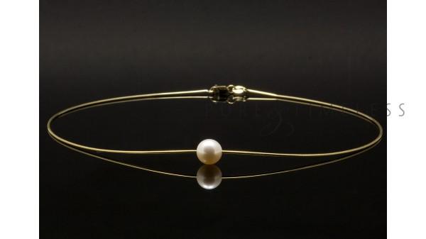 Parel solitair, 10-11 mm AAA, op gouden collier