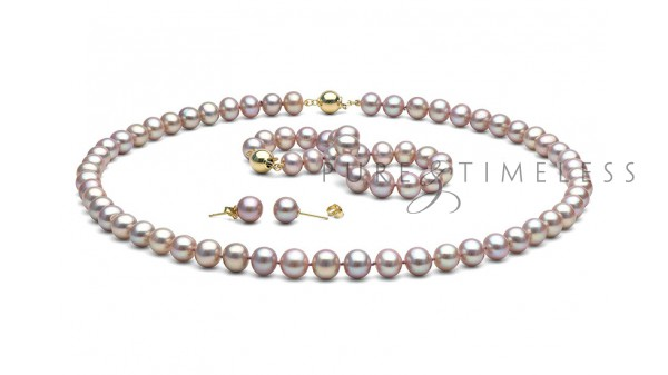 Lavendel parel set AA+ 8,5-9mm. Collier, armband en oorbellen