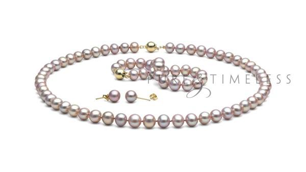 Lavendel parel set AA+ 8,5-9mm. Collier, armband en oorbellen