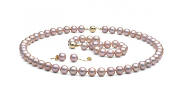 Lavendel parel set AAA 8,5-9mm. Collier, armband en oorbellen