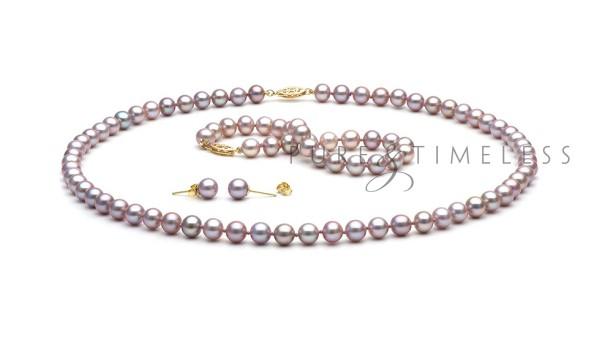 Lavendel zoetwaterparel set AA+. Collier, armband en oorbellen
