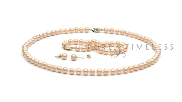 Set roze zoetwaterparels AA+. Collier, armband en oorbellen
