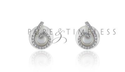 Zuidzee parel oorbellen met diamant 18k witgoud