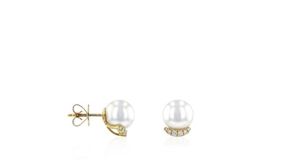 Gouden Zuidzee parel oorstekers 8-9 mm met diamant