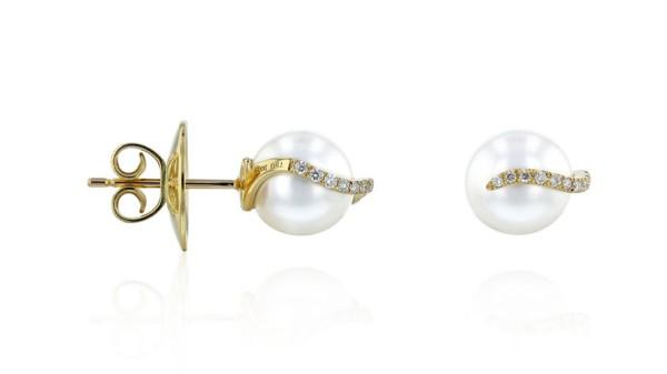 Gouden Zuidzee parel oorknopjes 8-9 mm met diamant