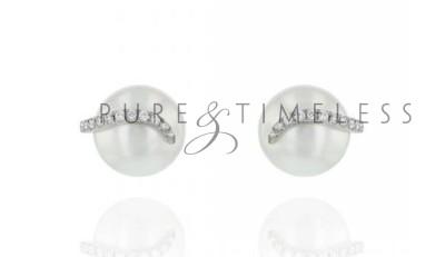Zuidzee parel oorknopjes 8-9 mm met diamant