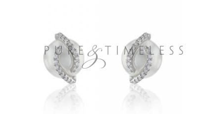 Fantasie Zuidzee parel oorknopjes 8-9 mm met diamant