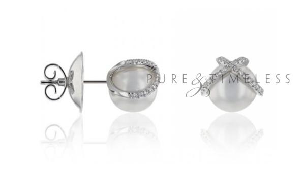 Zuidzee parel oorknopjes met diamant 18k