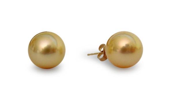 Gouden zuidzeeparels 9-10 mm, oorbellen