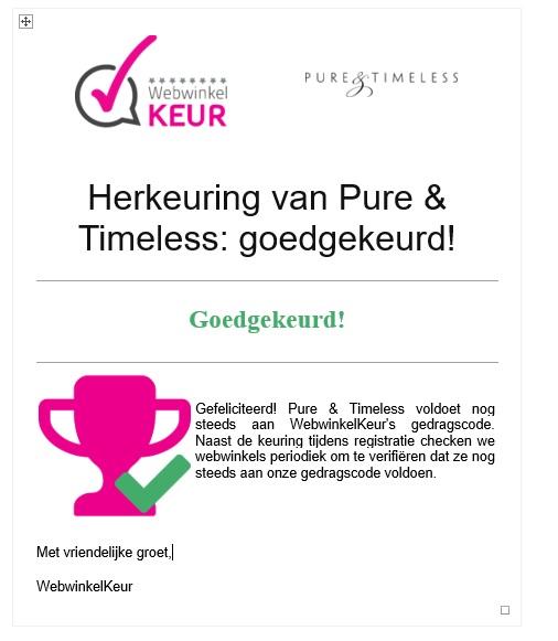 Goedkeuring Pure & Timeless door Webwinkelkeur