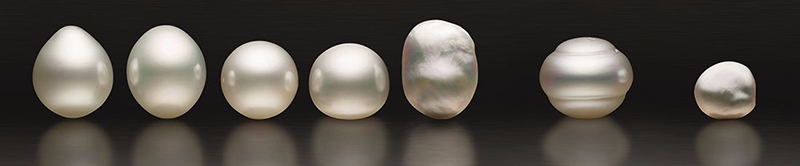 verschillende vormen zuidzee parels